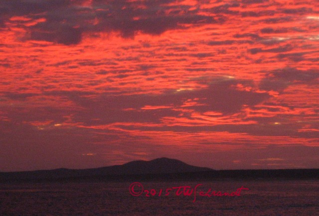 Pink sunrise over Sea of Cortez in La Ventana,  Baja, Mexico