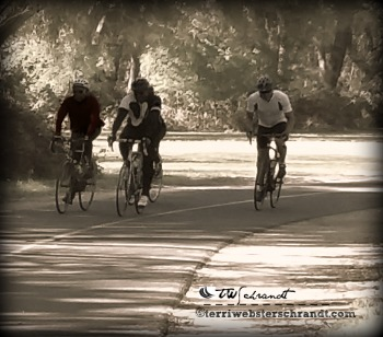 Cyclists ride in twilight