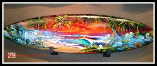 Ornate Surfboard on display at Lake Tahoe art gallery