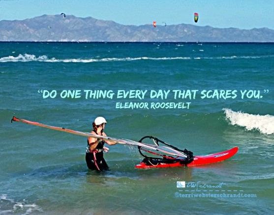 Face your fears. Windsurfing in Baja, Mexico.