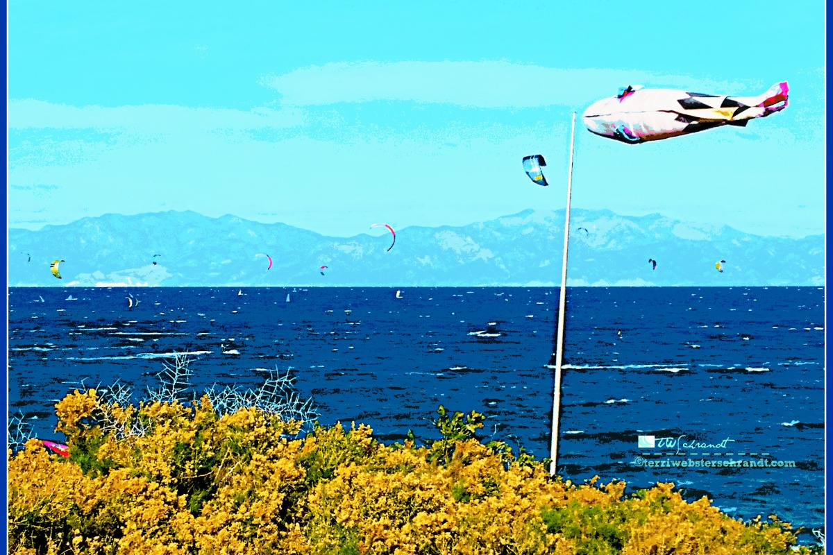A flying windsock promises wind for kite surfing