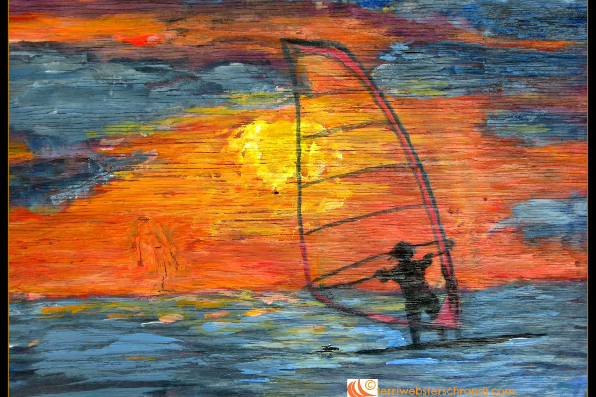 My interpretation of a windsurf sunset. Painted by me in 2009.