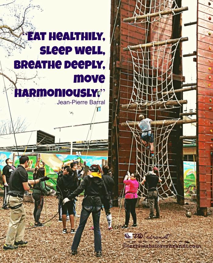 Eat Healthily, sleep well, breathe deeply and move harmoniously.
