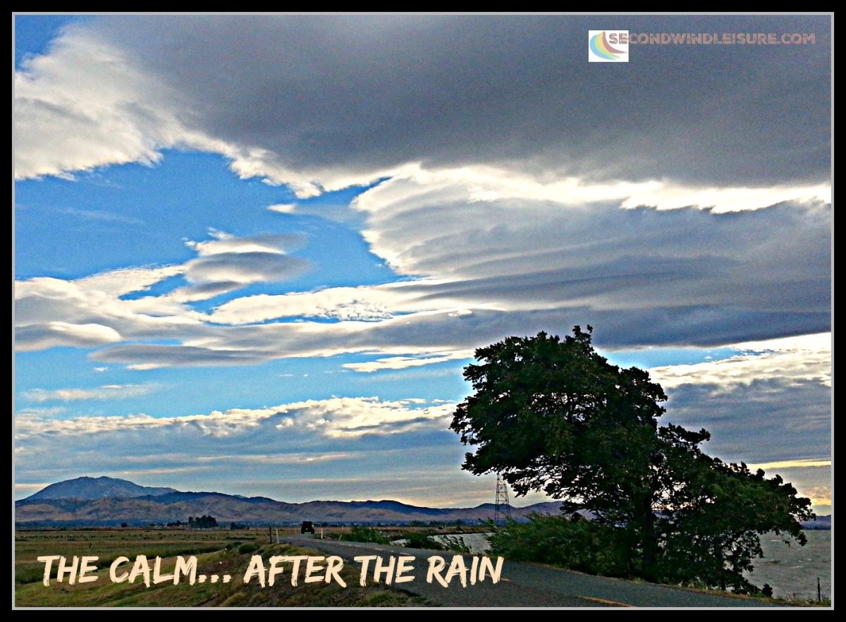 Lenticular clouds curve over the delta after a summer storm.