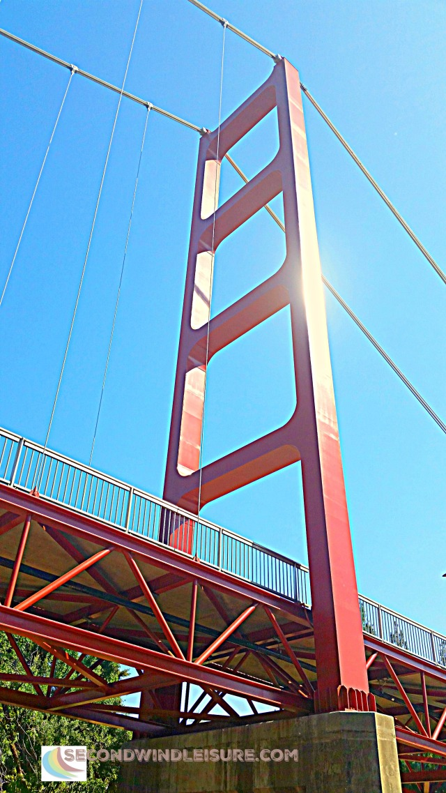 Looking up at the Guy West Bridge near Sacramento State