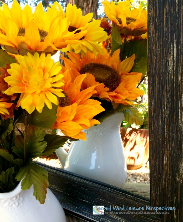 photo challenge sunflowers at edge of the mirror