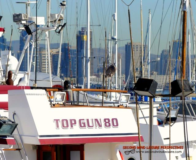 Boat name Top Gun80 anchored near downtown San Diego