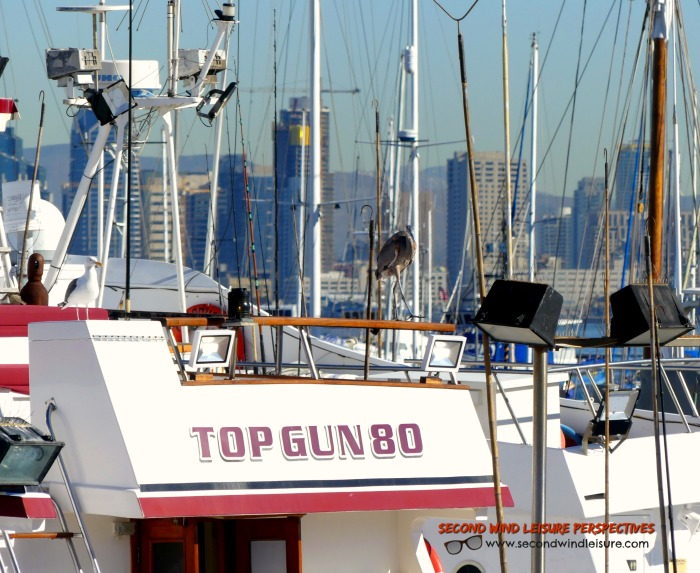 Boat name Top Gun80 anchored near downtown San Diego