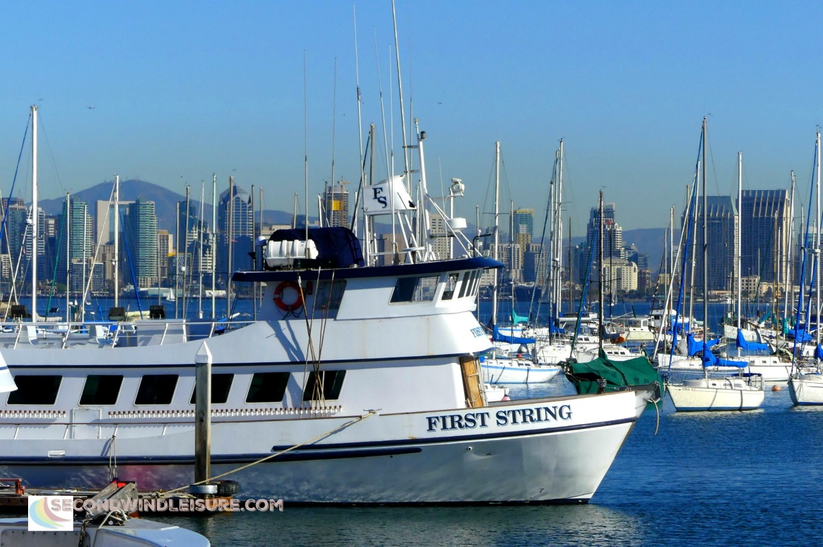 """The """"First String"""" moored at San Diego Harbor"""