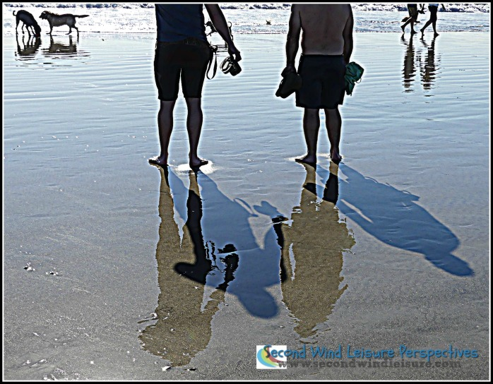 Legs cast shadows and reflections
