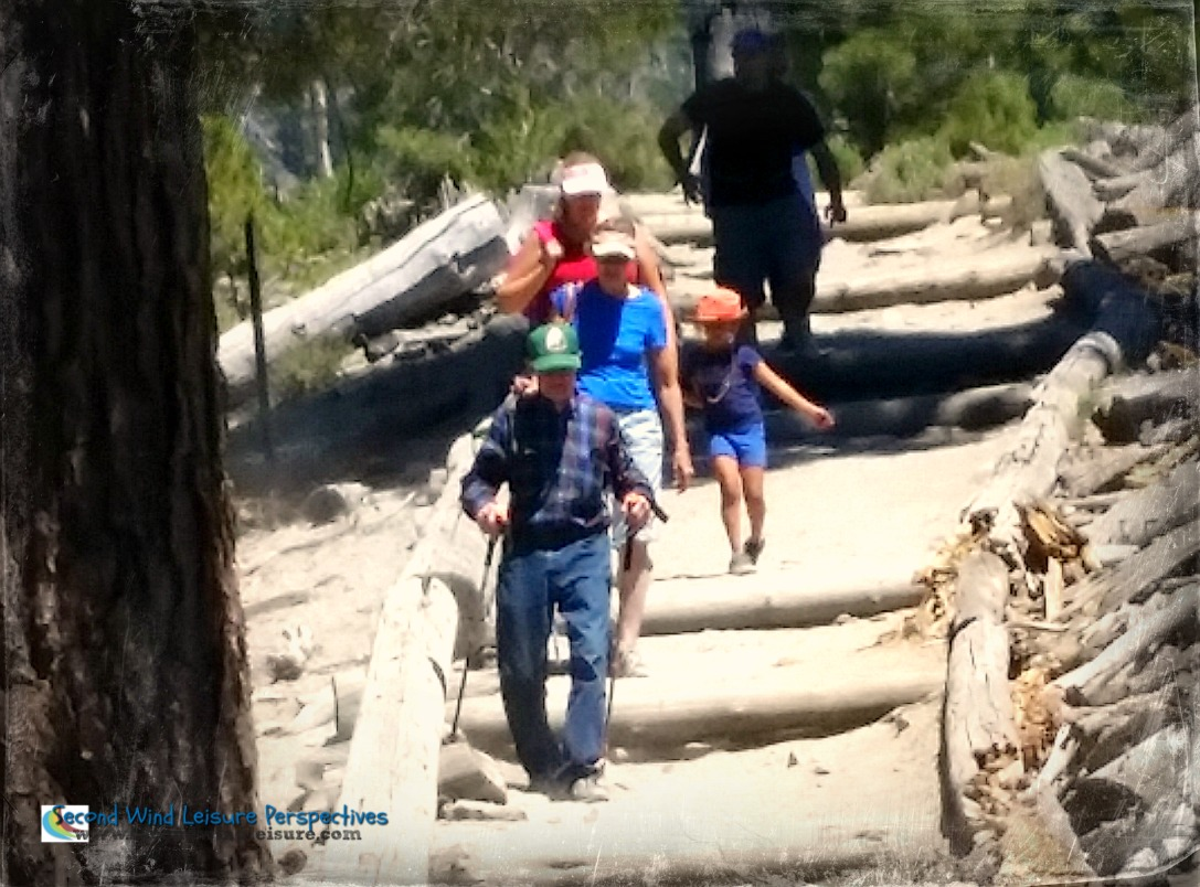 80-year old dad hiking on his birthday in Mammoth Lakes