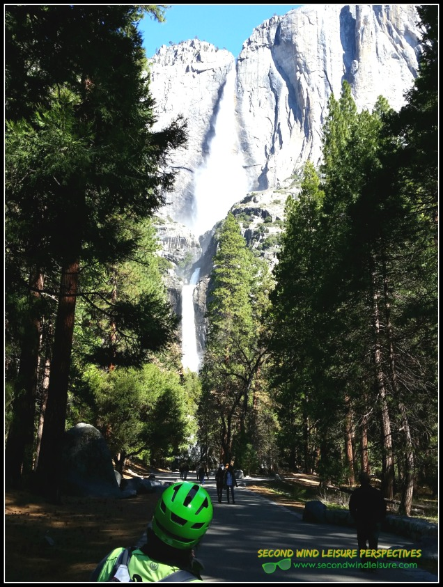 Green helmeted cyclist (my hubby) admires stunning view of Yosemite Falls Spring 2016