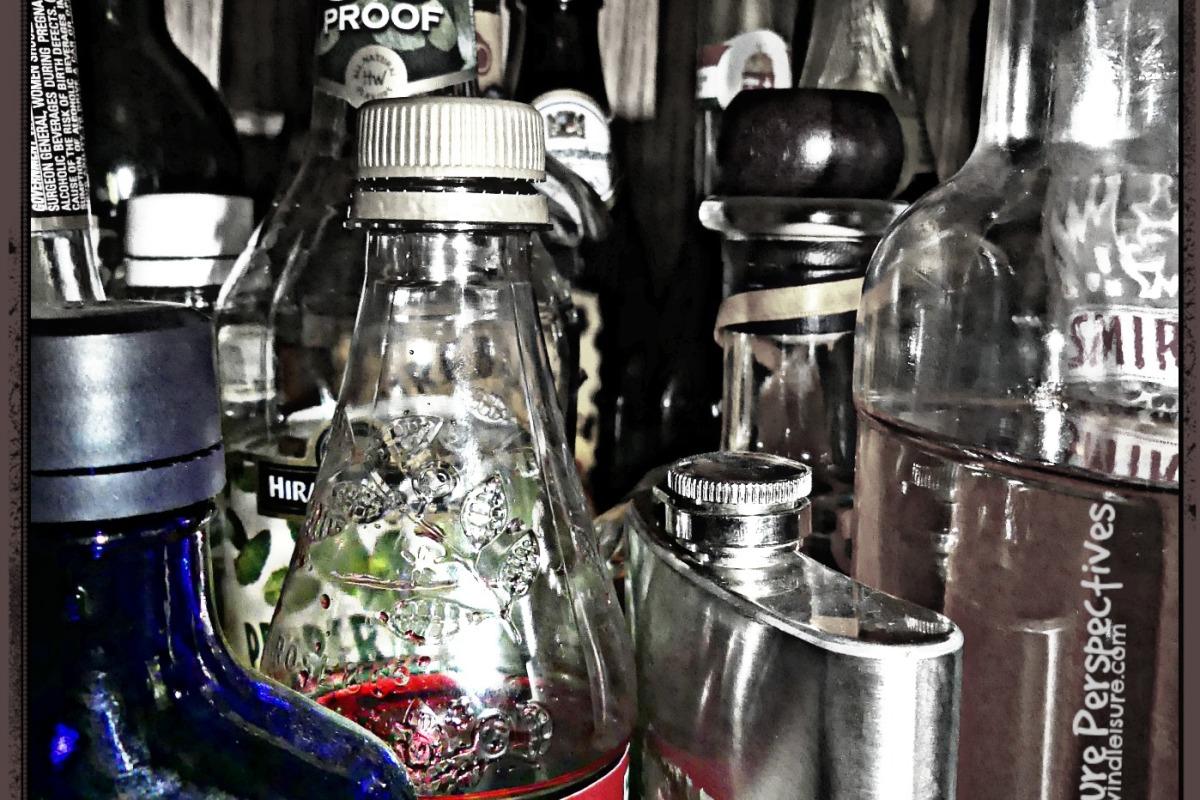 Bottom shelf of the alcohol cabinet. I see things I like!
