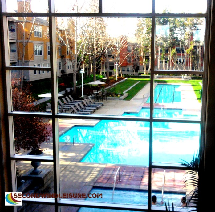 Condo Window looks out onto leisure.