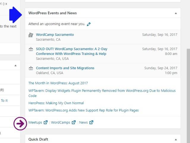 WordPress Admin Panel Info