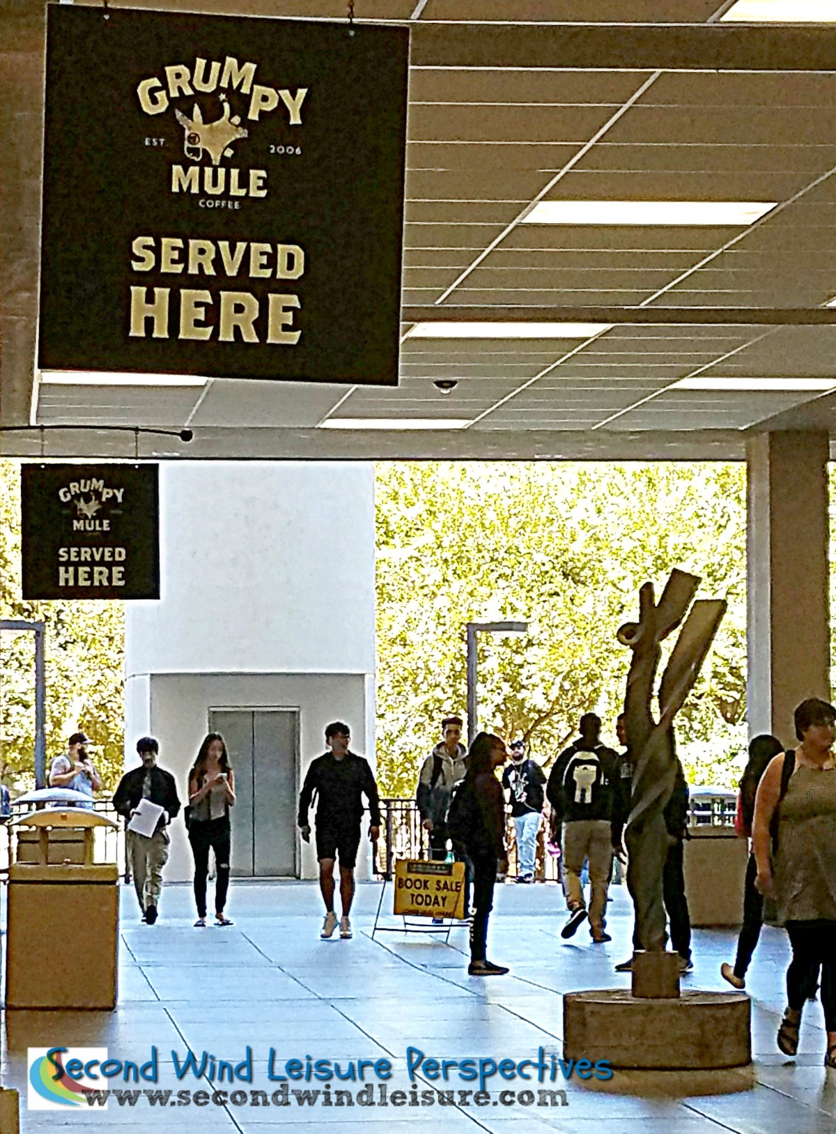 Students walking through library breezeway
