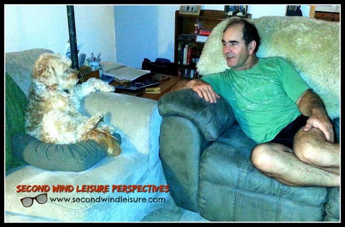 Gideon sits and chats