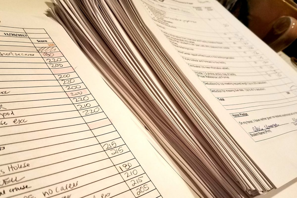 Stack of papers to be graded
