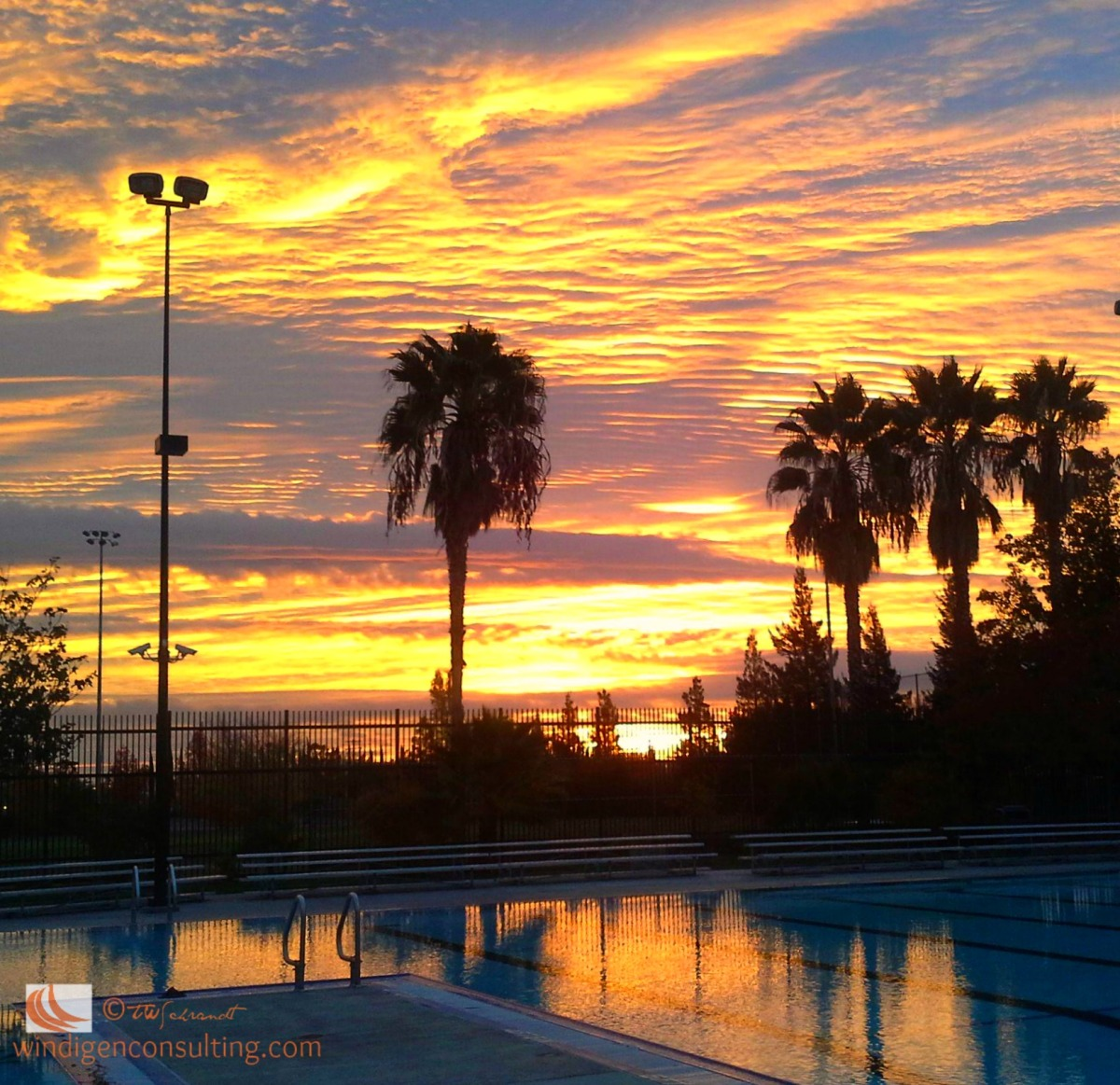 Winter Sunrise over swimming pool