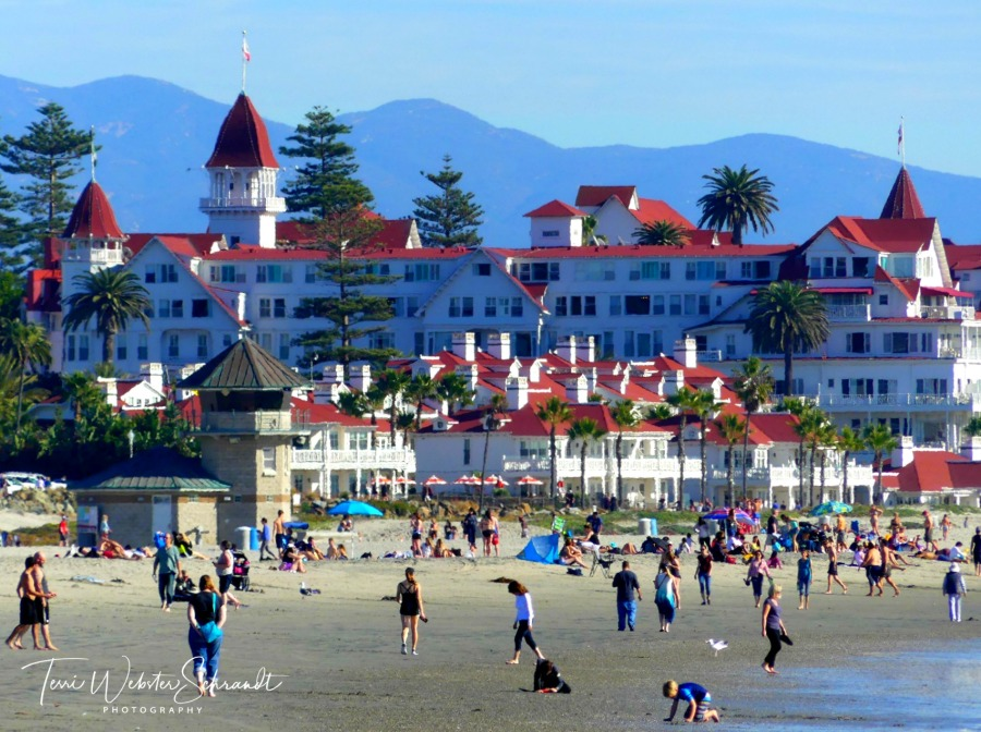 Tourists gather on the beach in Coronado
