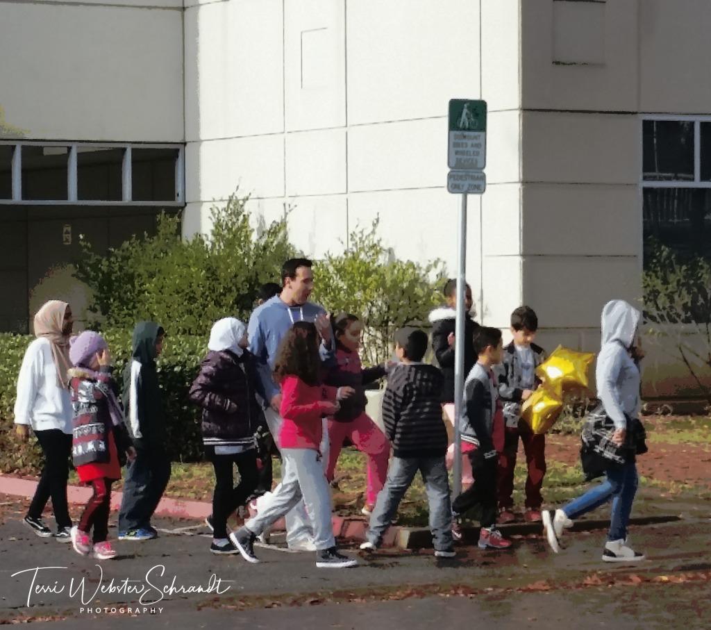 Future students touring the university