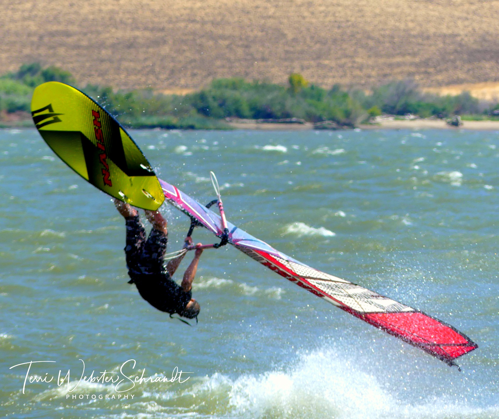 windsurfer getting air