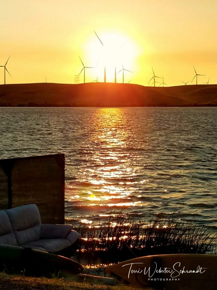 sunset among the windturbines
