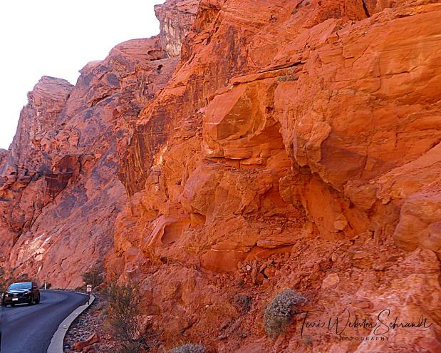 Driving through fiery rocks