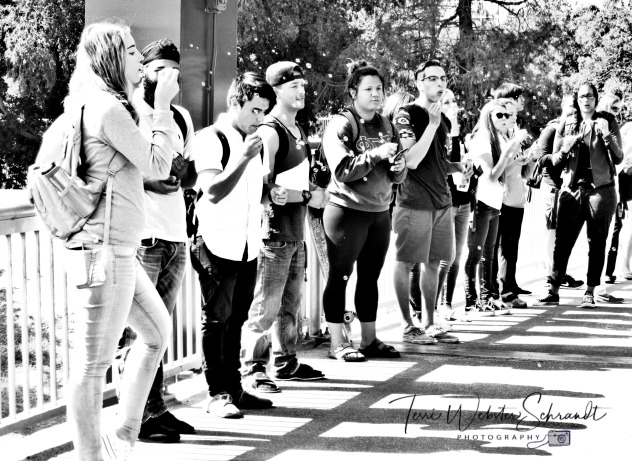 Students lined up to blow bubbles