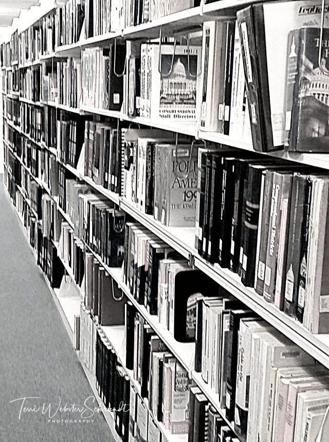 Library books on university shelves