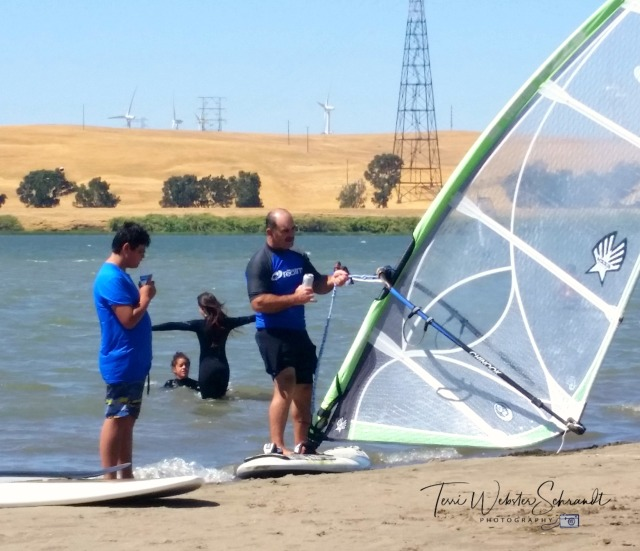 Hans teaching windsurfing
