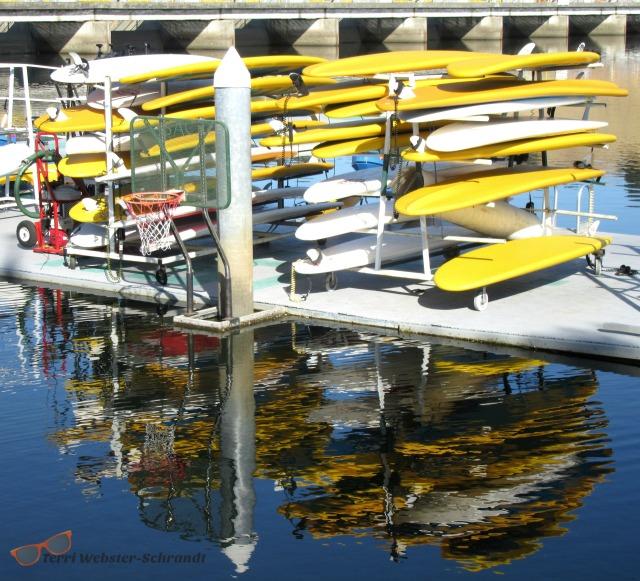 Reflections of yellow SUPs