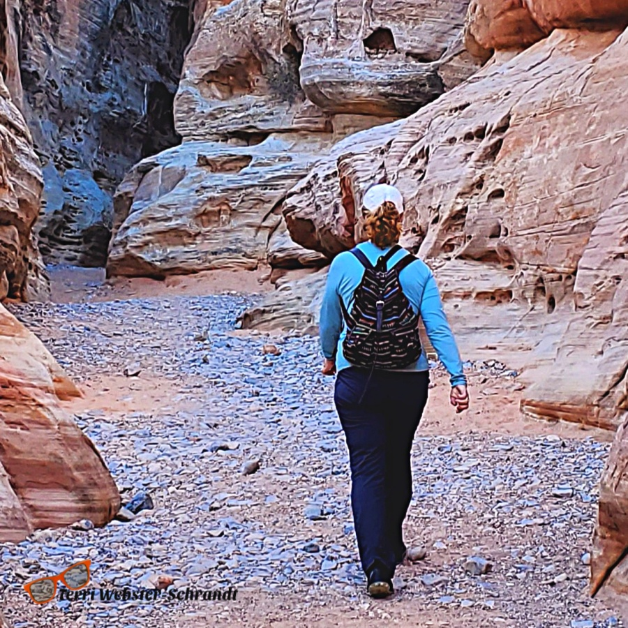 Walking into the Slot Canyon in Valley of Fire