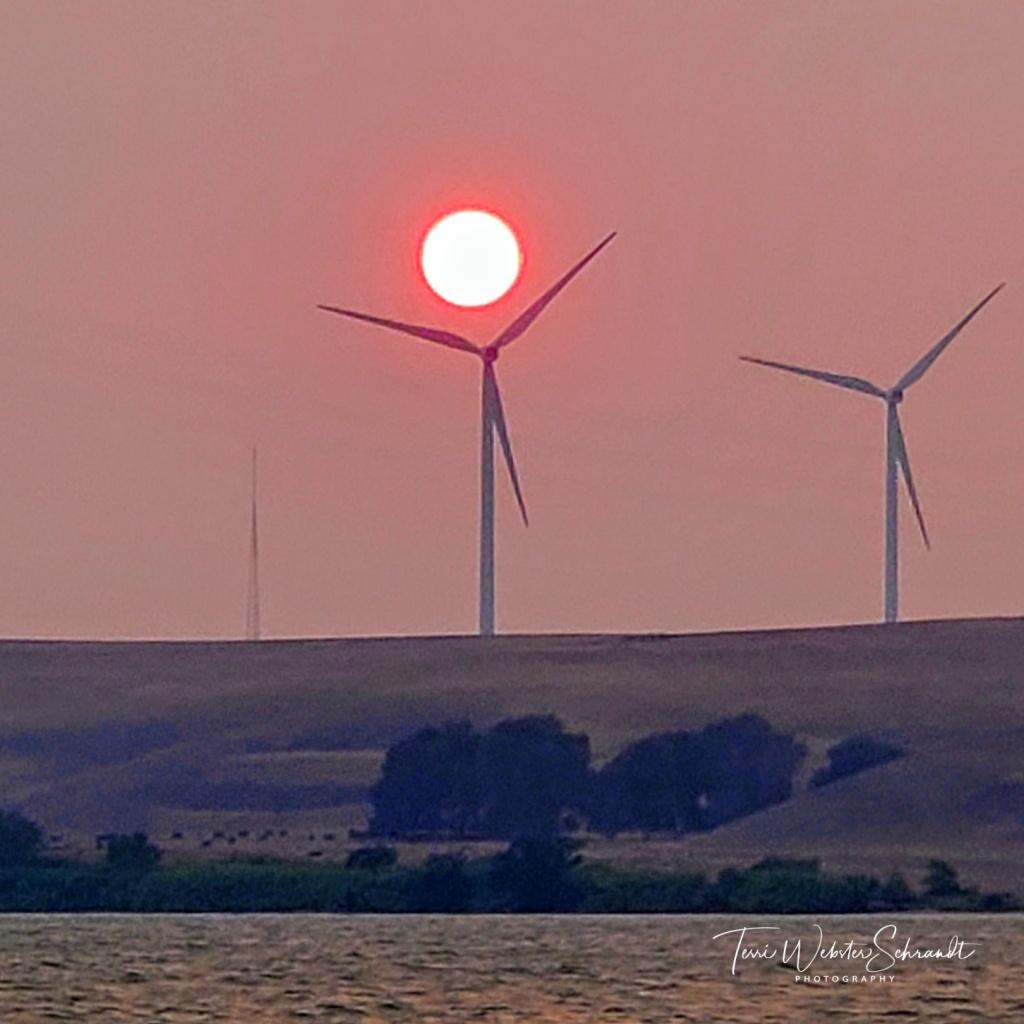 Sunset over wind turbines
