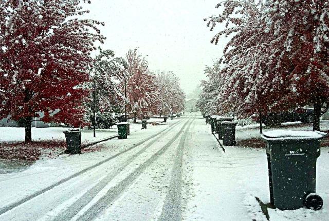 snowy suburban sidewalk