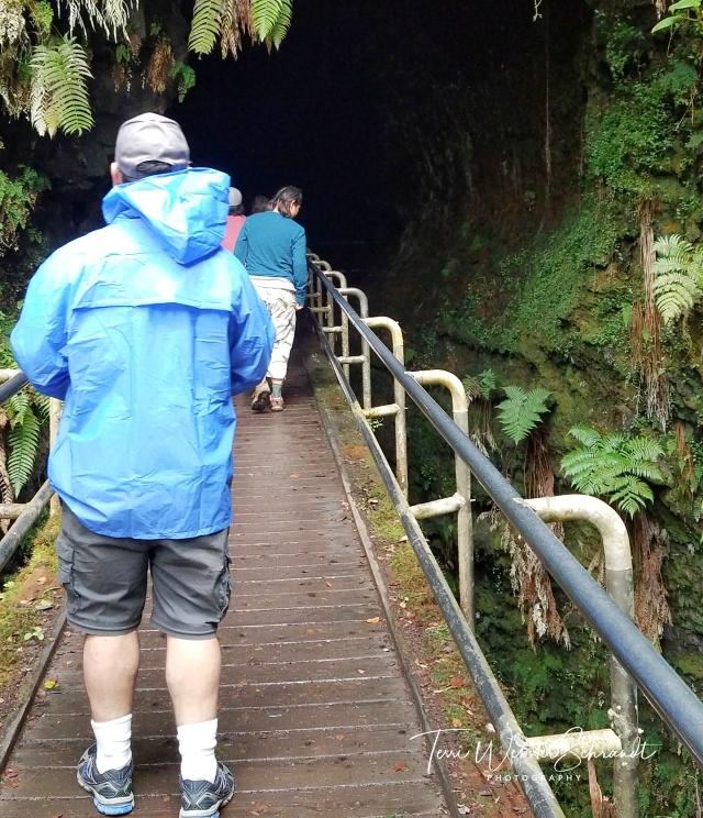 Rainy day walk through lava tube