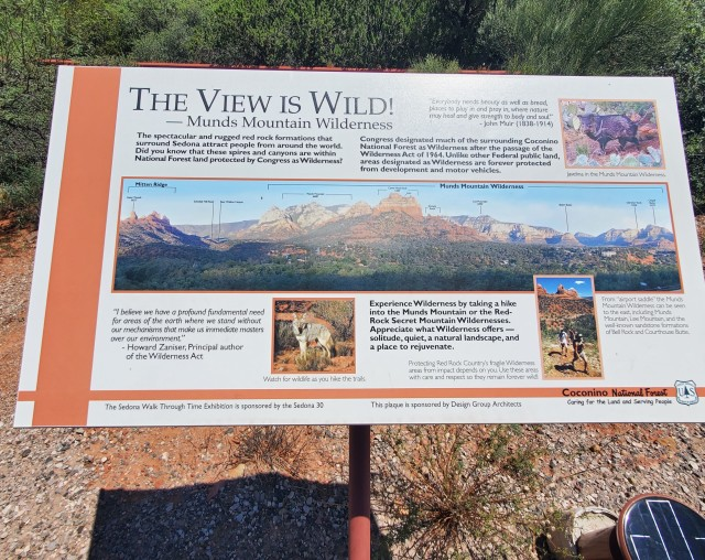 Sign showing mountains of Sedona