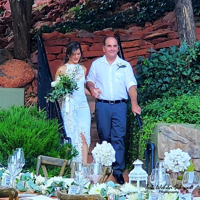 Dad walking bride down steps Sedona